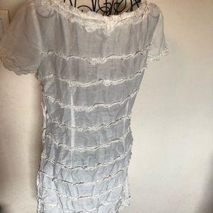 J.Crew sheer white ruffle dress
